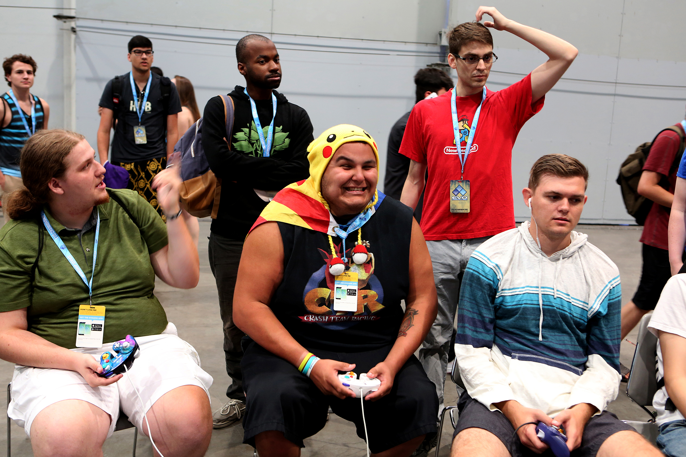 Fans travel from all over the country to attend EVO, some become the characters, including this Pikachu playing Smash.  © Gail Fisher for ESPN
