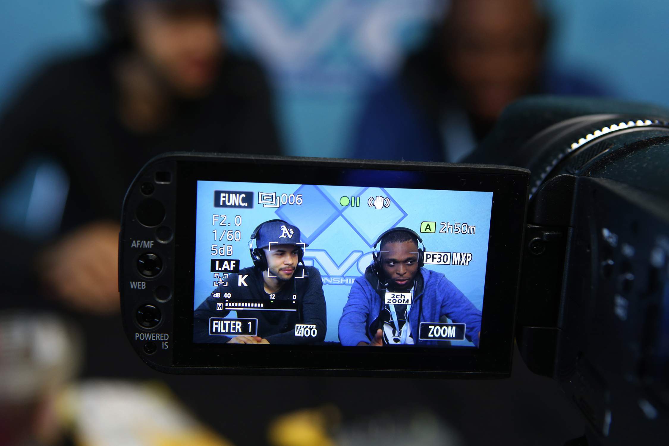 "Commentators Phil ""Phil"" DeBerry and Brandon ""homeMade Waffles"" Collier during EVO's second day of action.  © Gail Fisher for ESPN"