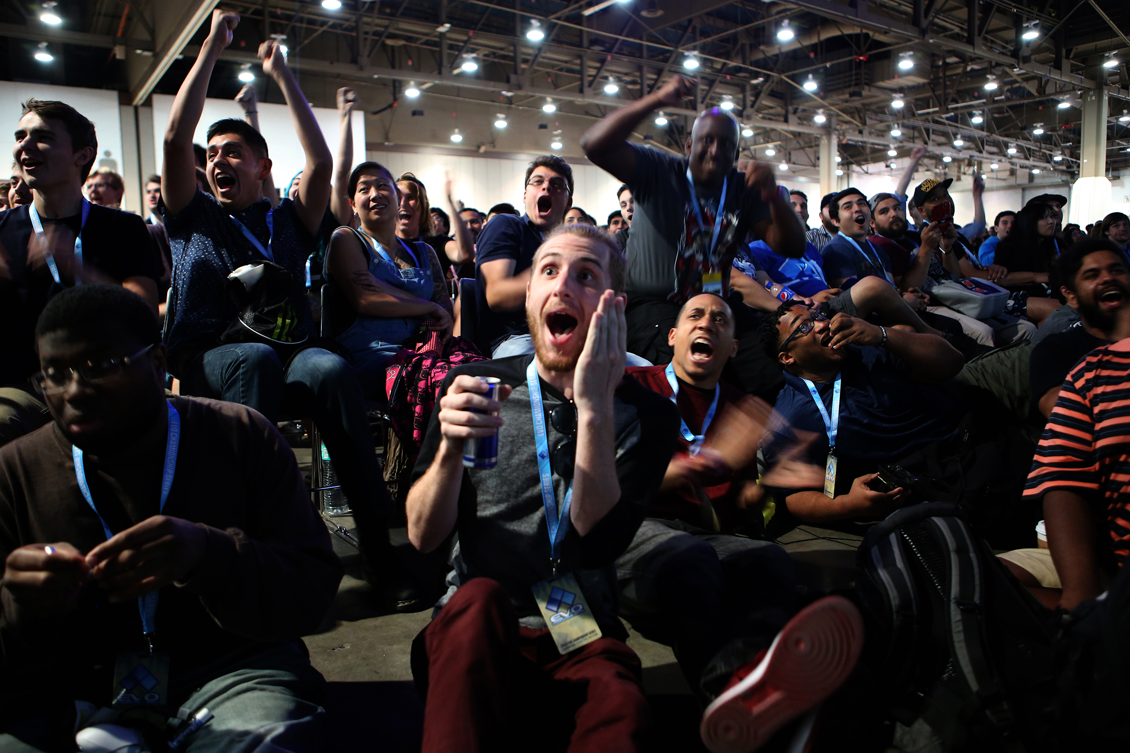 Fans jump out of their seats during the Smash Bros. for a Wii U winner's bracket semifinals match.  © Gail Fisher for ESPN