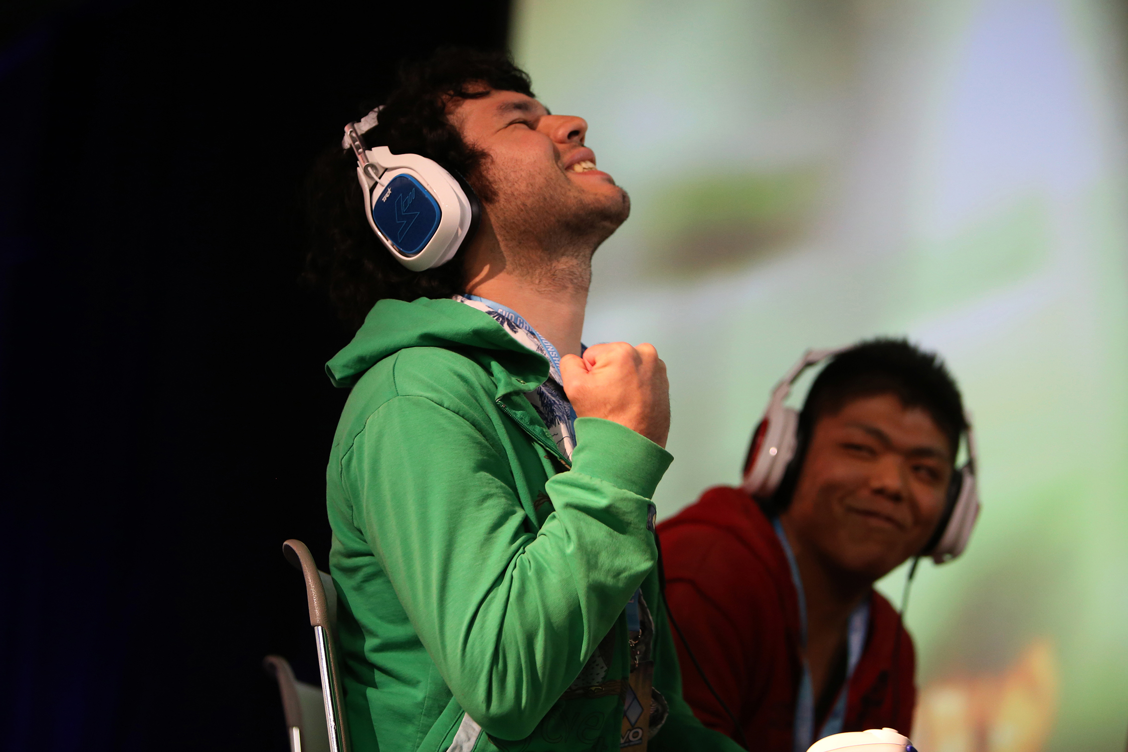 "Elliot ""Ally"" Bastien Carroza-Oyarce, left, in Super Smash Bros for Wii U tournament fighting against Kamemushi, a Japanese smasher considered to be the best Mega Man player in the world. © Gail Fisher for ESPN"