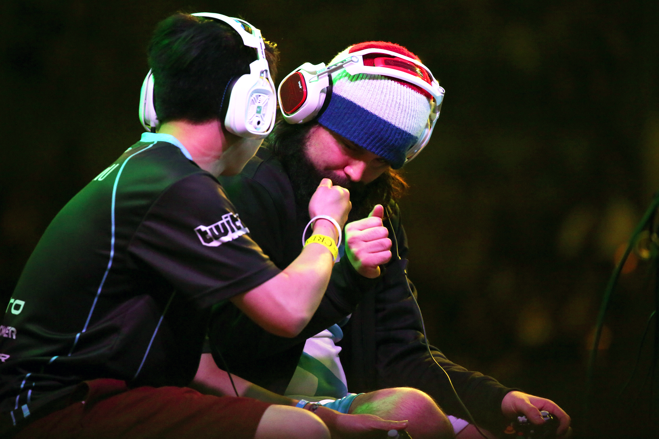 "CLG Kevin ""PewPewU"" Toy and C9 Joseph ""Mango"" Marquez fist bump before their match in the Super Smash Bros. Melee top eight loser's bracket. © Gail Fisher for ESPN"
