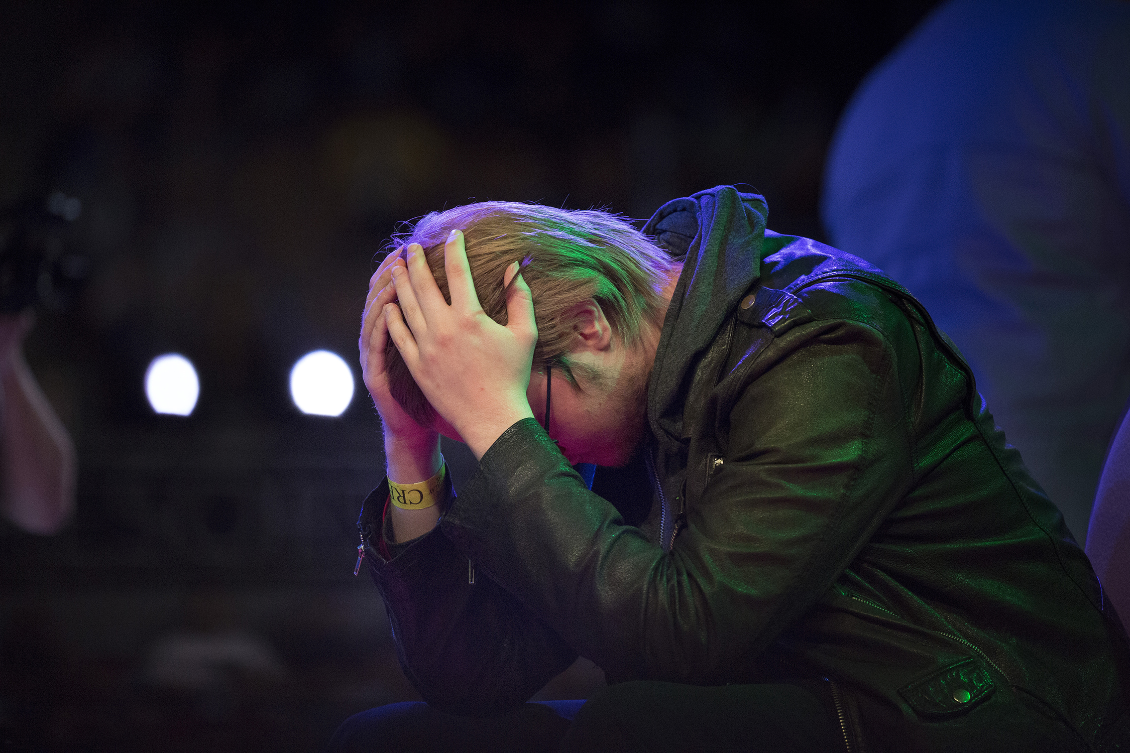 "A crestfallen moment for Adam ""Armada"" Lindgren after losing to Juan ""Hungrybox"" Debiedma. © Gail Fisher for ESPN"