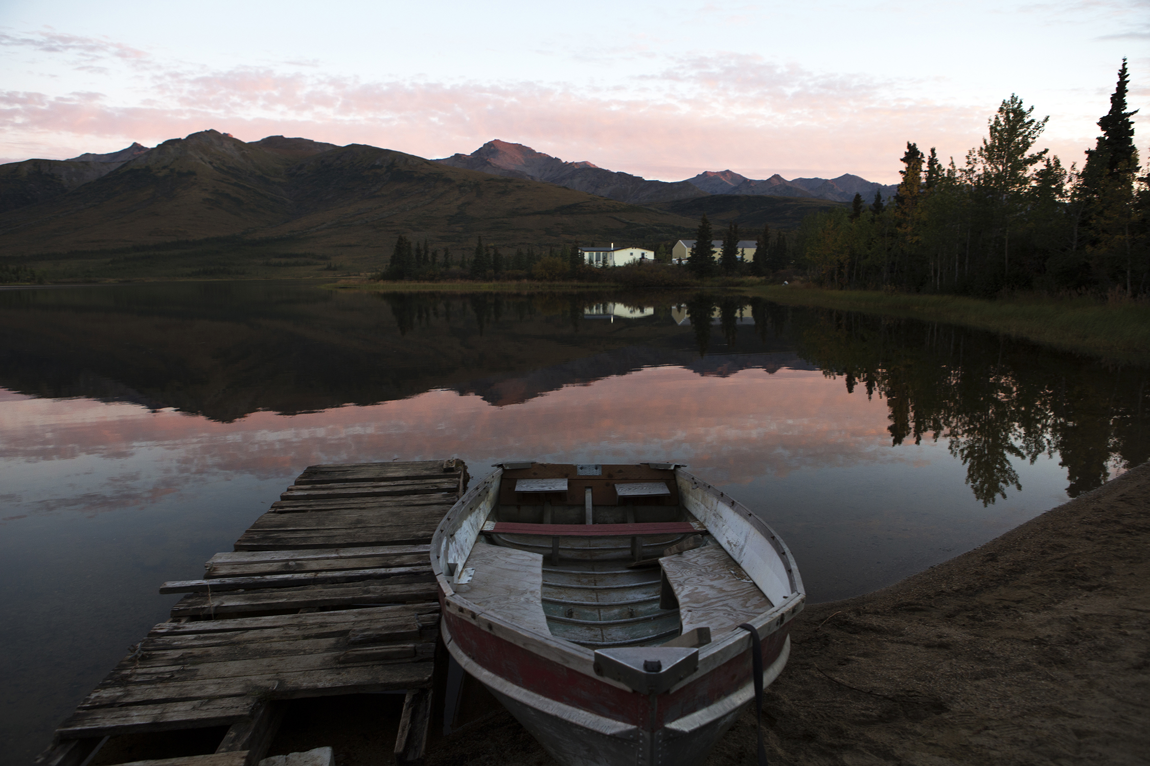Situated 10 miles north of Denali National Park, Otto Lake is often the preferred base for visiting Denali where lodging and camping is available with spectacular views. © Photo by Gail Fisher