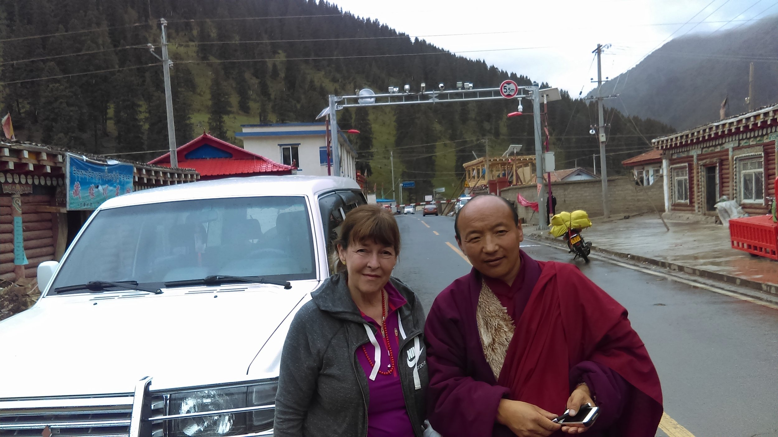 With the monk Rinchen, 2016.