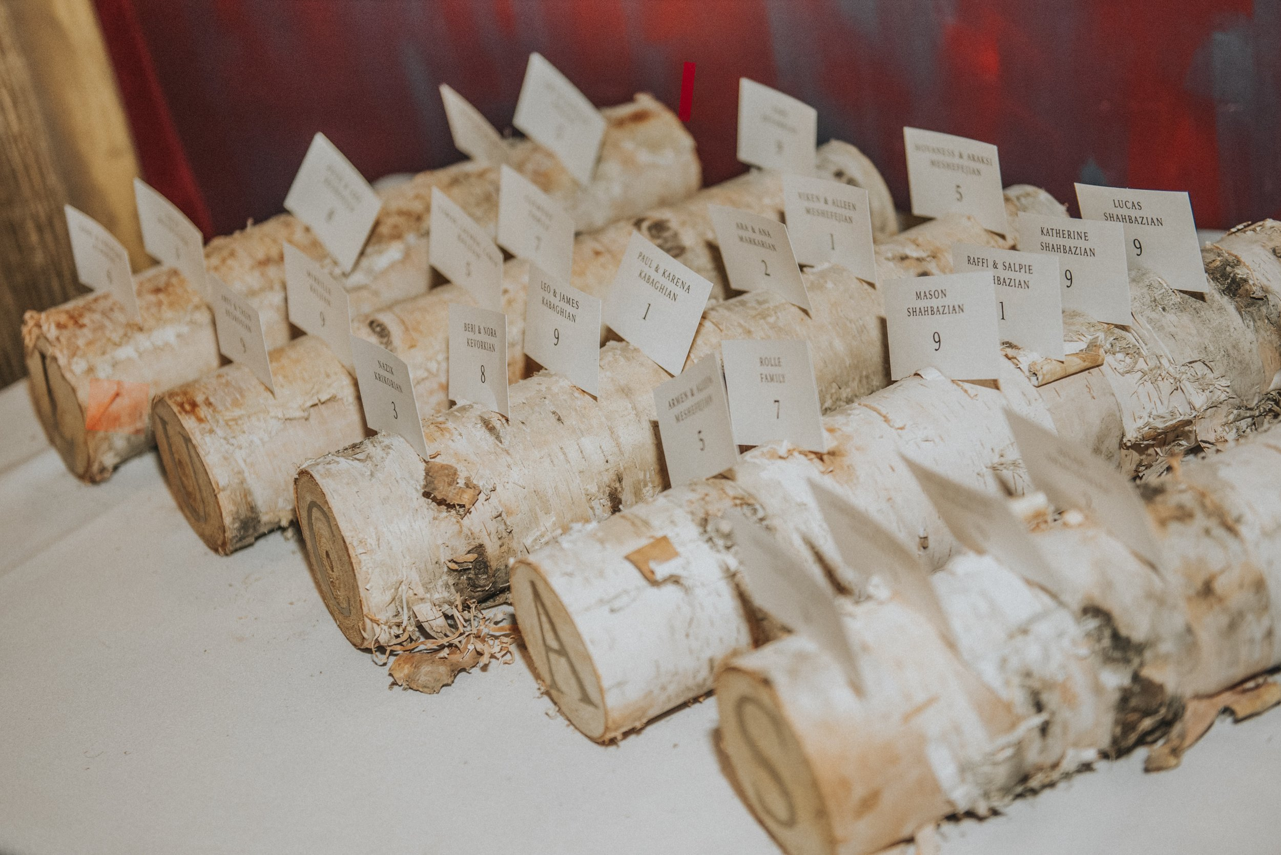 Birch logs as placecard holders