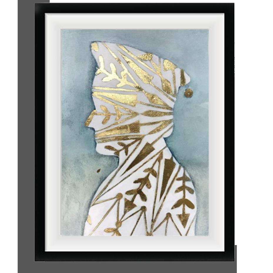 """Blue Portrait """"Lui"""",   Oil Pastel Painting on Paper"""