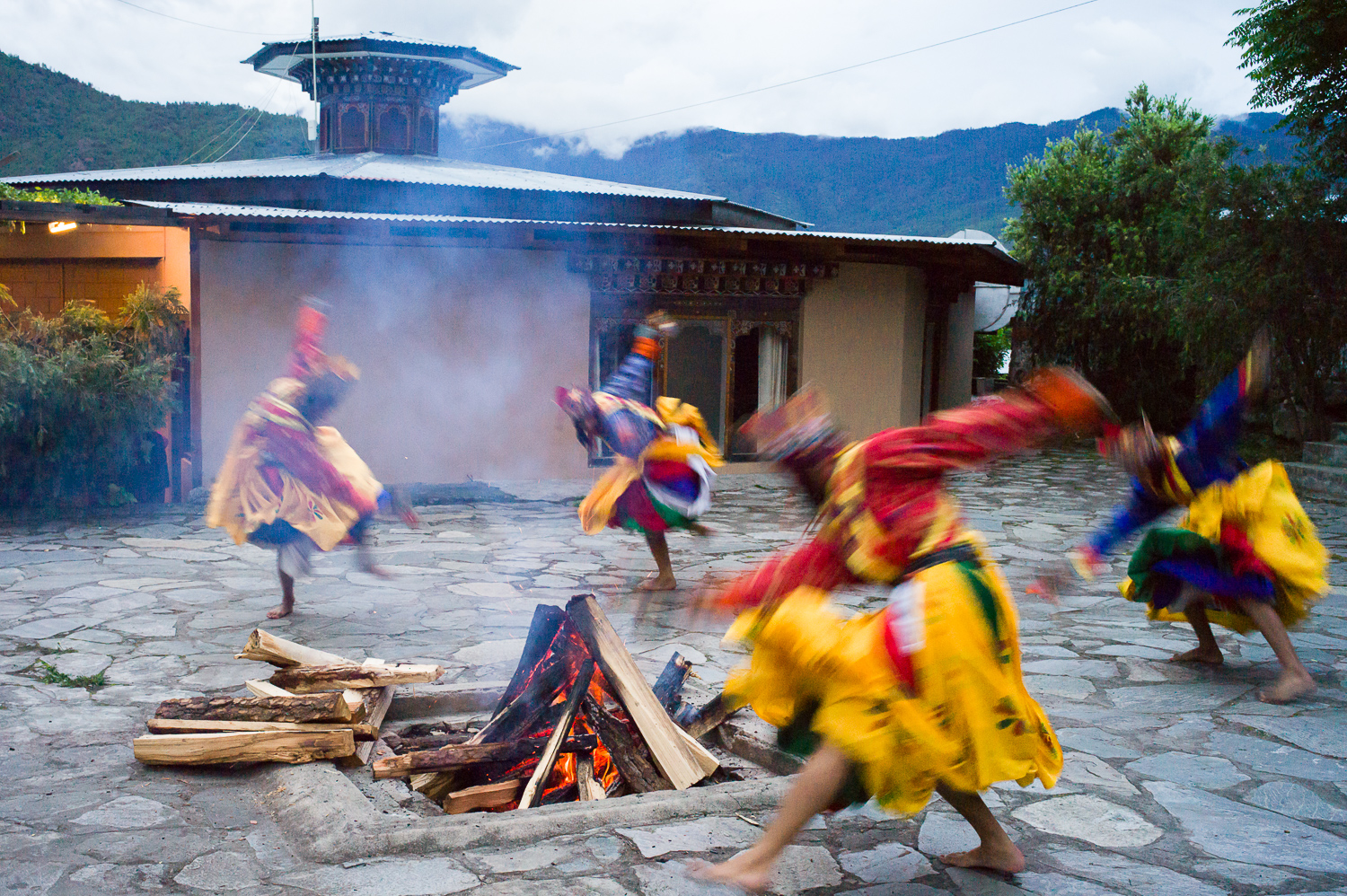 Another cultural performance where participants dance around the bonfire, Paro