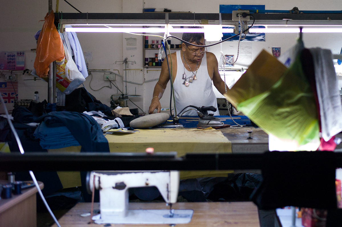 Alteration shop, an old-school home factory fixing/ customizing clothes