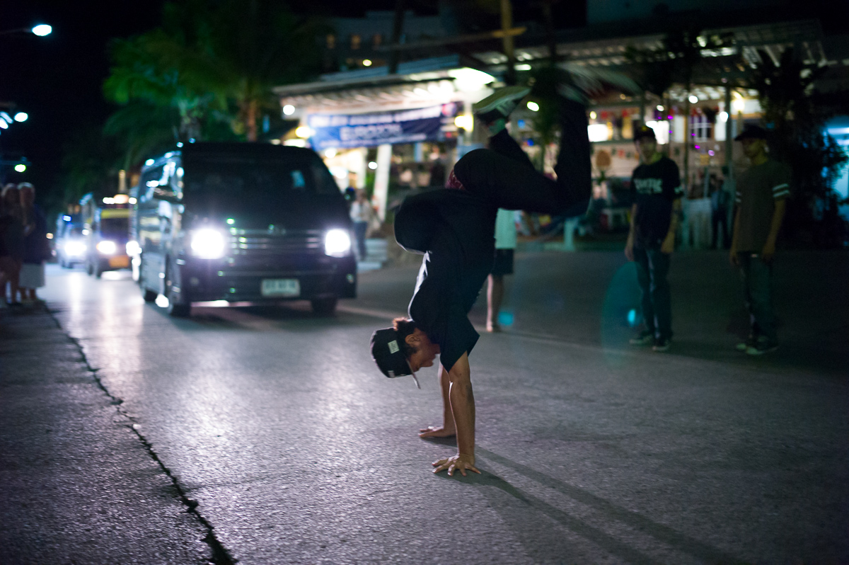 Street B-Boys stop the traffic with a boom box and breaks