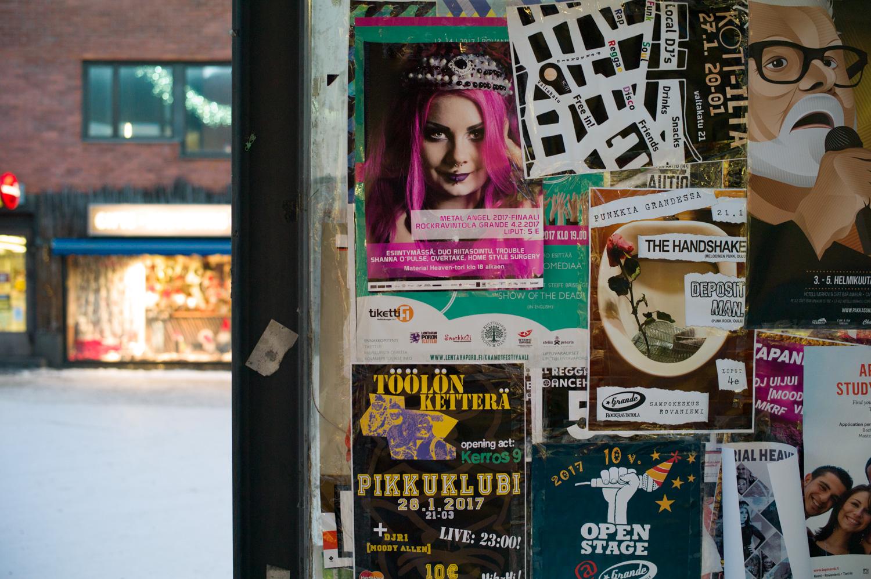 Posters and notice around Rovaniemi street