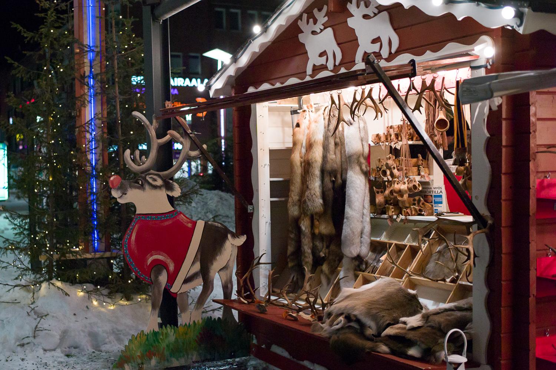 Street vendor in Rovaniemi selling all sorts of stuff including reindeer hides, fox fur, etc.