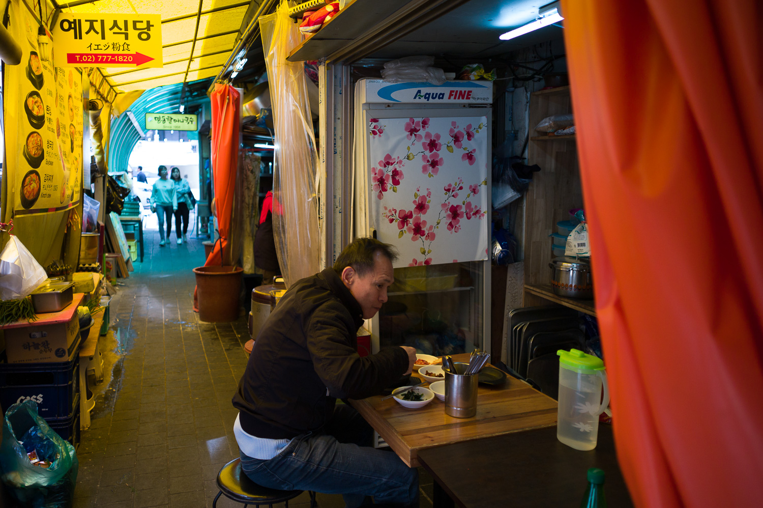 Lone diner, Myeongdong Street photography, Seoul