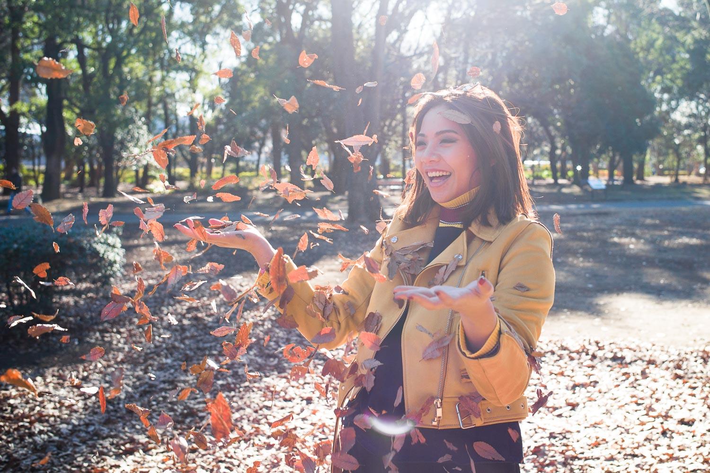 Leave throwing in Yoyogi Park