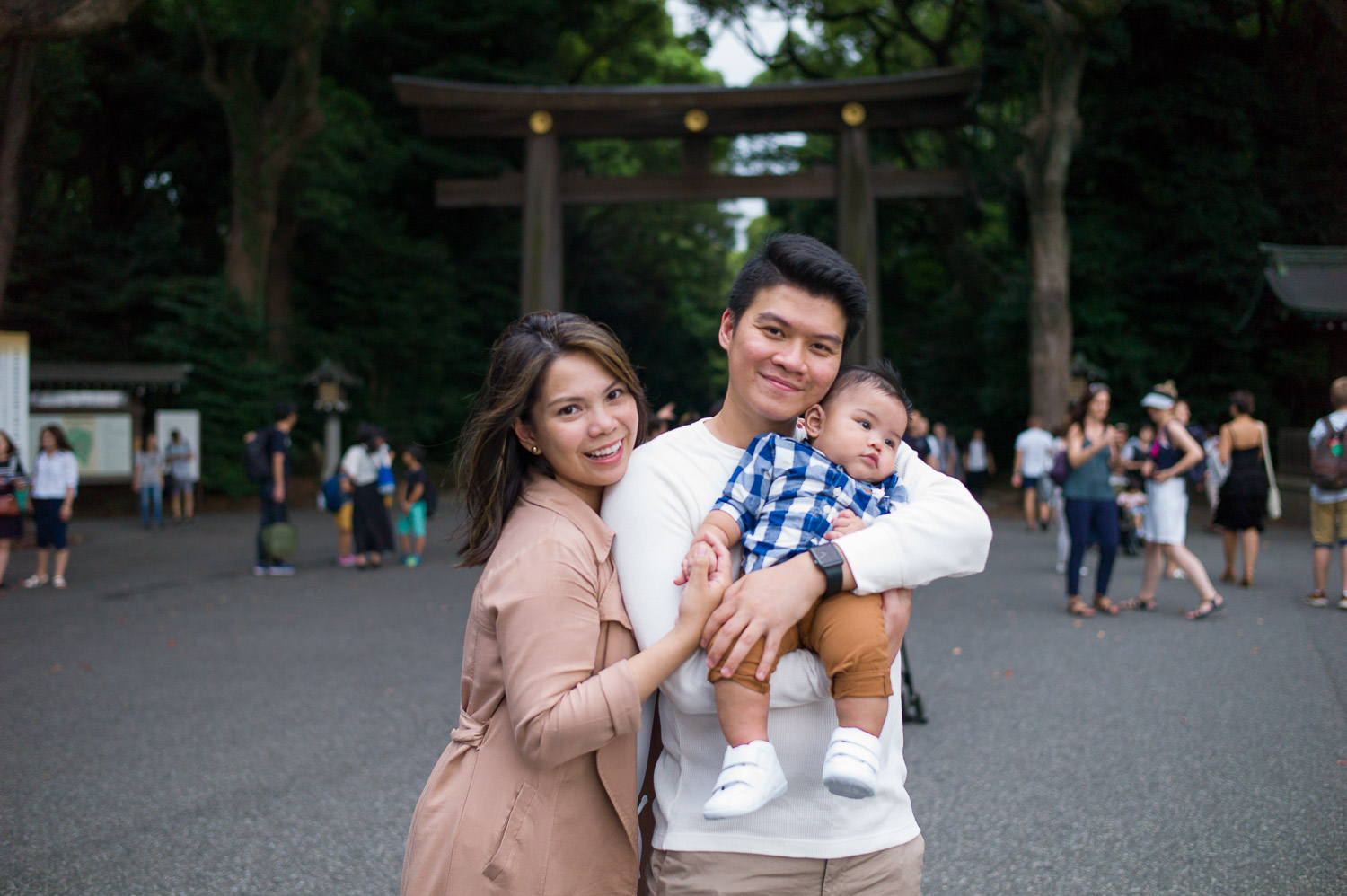 Photographic souvenir in front of Meiji Shrine