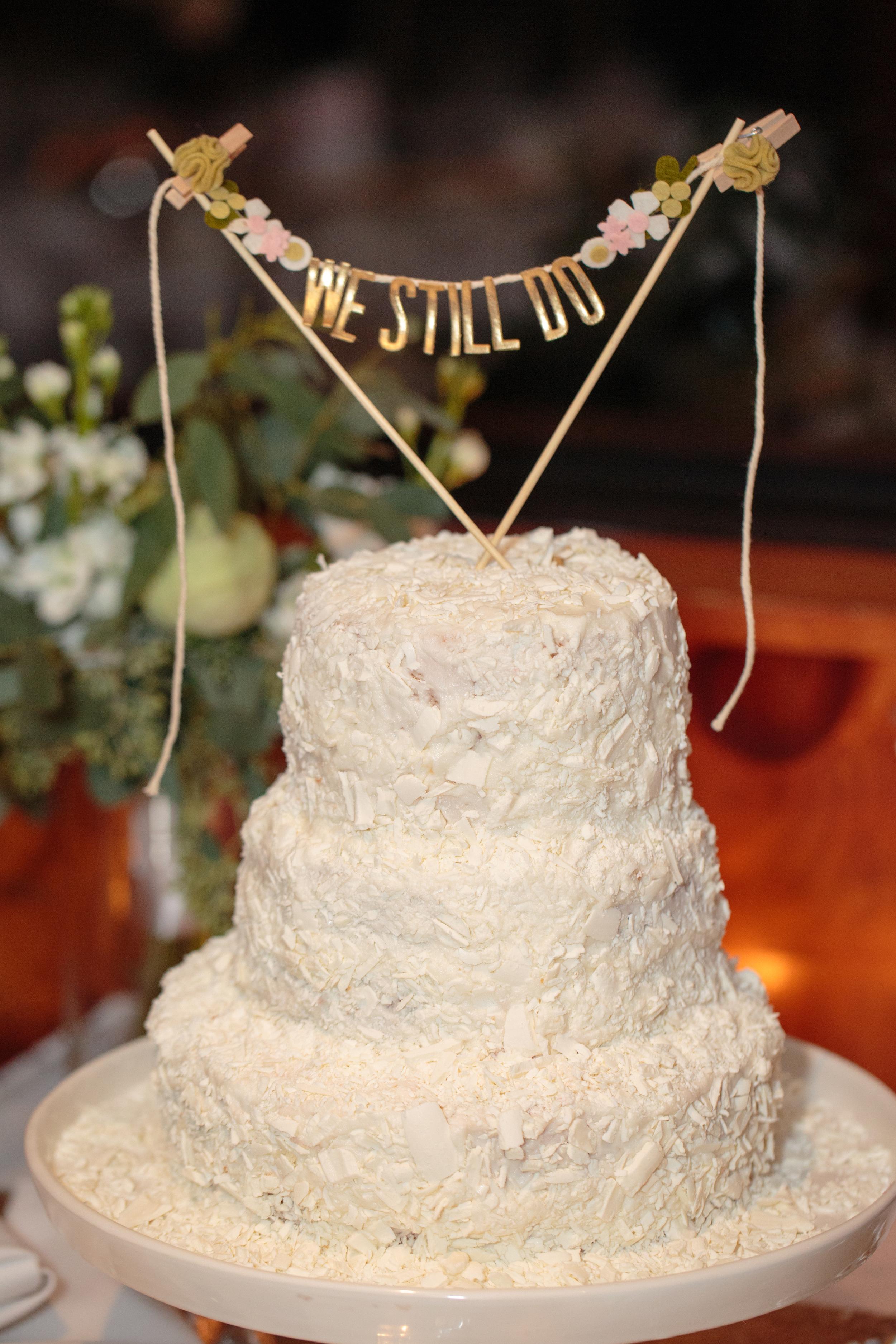 We (Still) Do: Liberty Mountain Resort Wedding Vow Renewal | Shotgunning for Love Letters | We Still Do Cake Topper