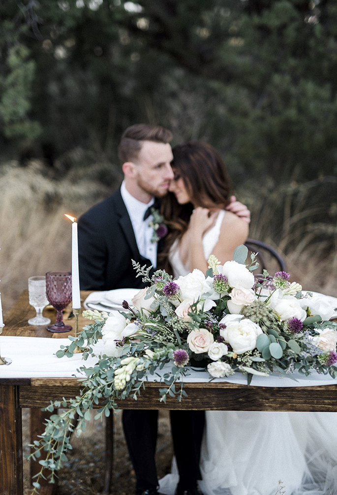 Arizona Lakeside Winter Elopement with Saje Photography | Shotgunning for Love Letters | Romantic Purple and Rustic Wedding Table Setting