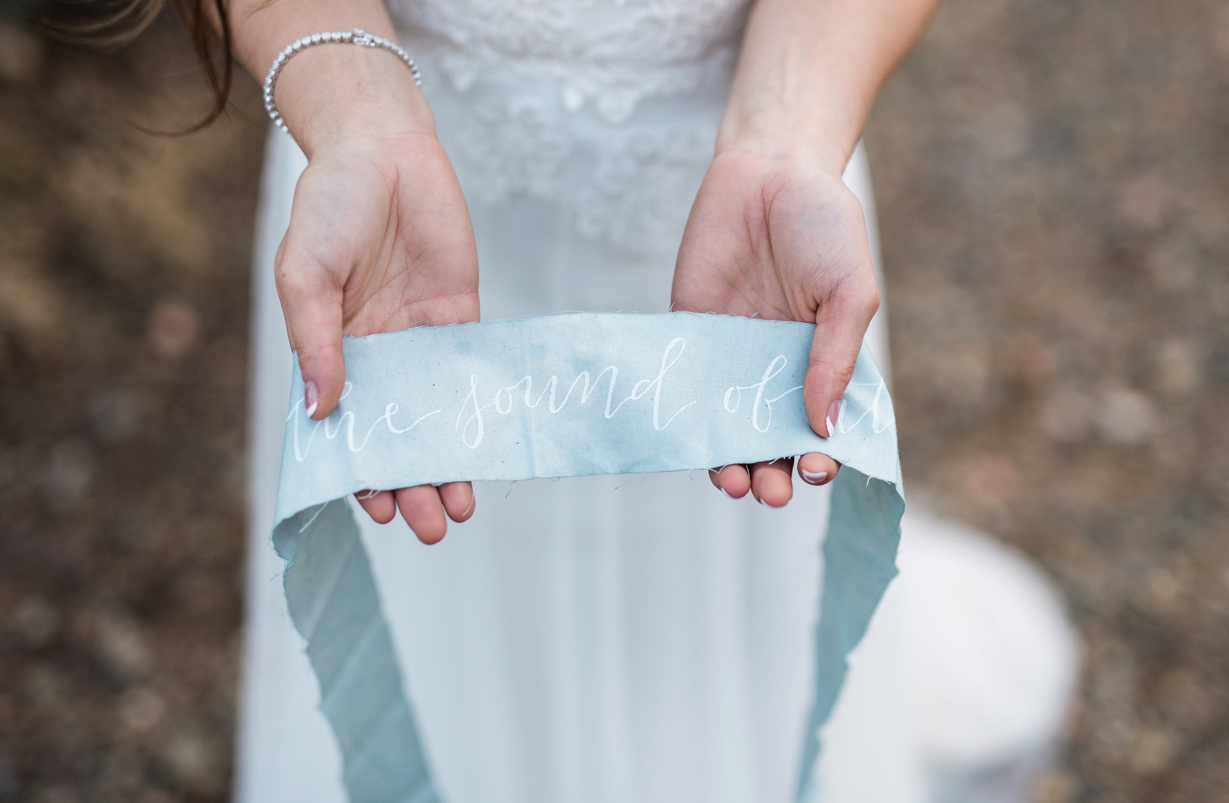 Arizona Lakeside Winter Elopement with Saje Photography | Shotgunning for Love Letters | Calligraphy on Hand Dyed Ribbon