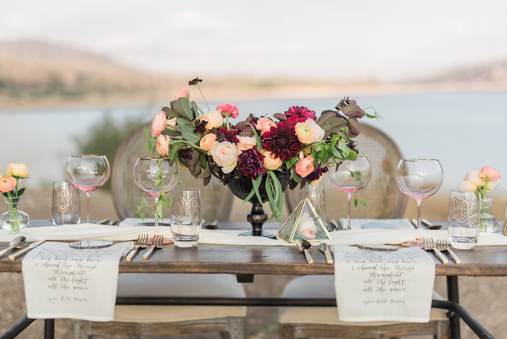 Big Bear Lakeside California Wedding | Shotgunning for Love Letters - Fall Autumn Table Setting with Calligraphy Napkins