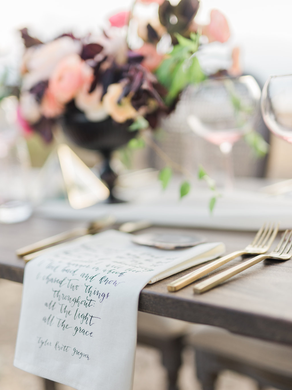 Big Bear Lakeside California Wedding | Shotgunning for Love Letters - Table Setting with Calligraphy Napkins