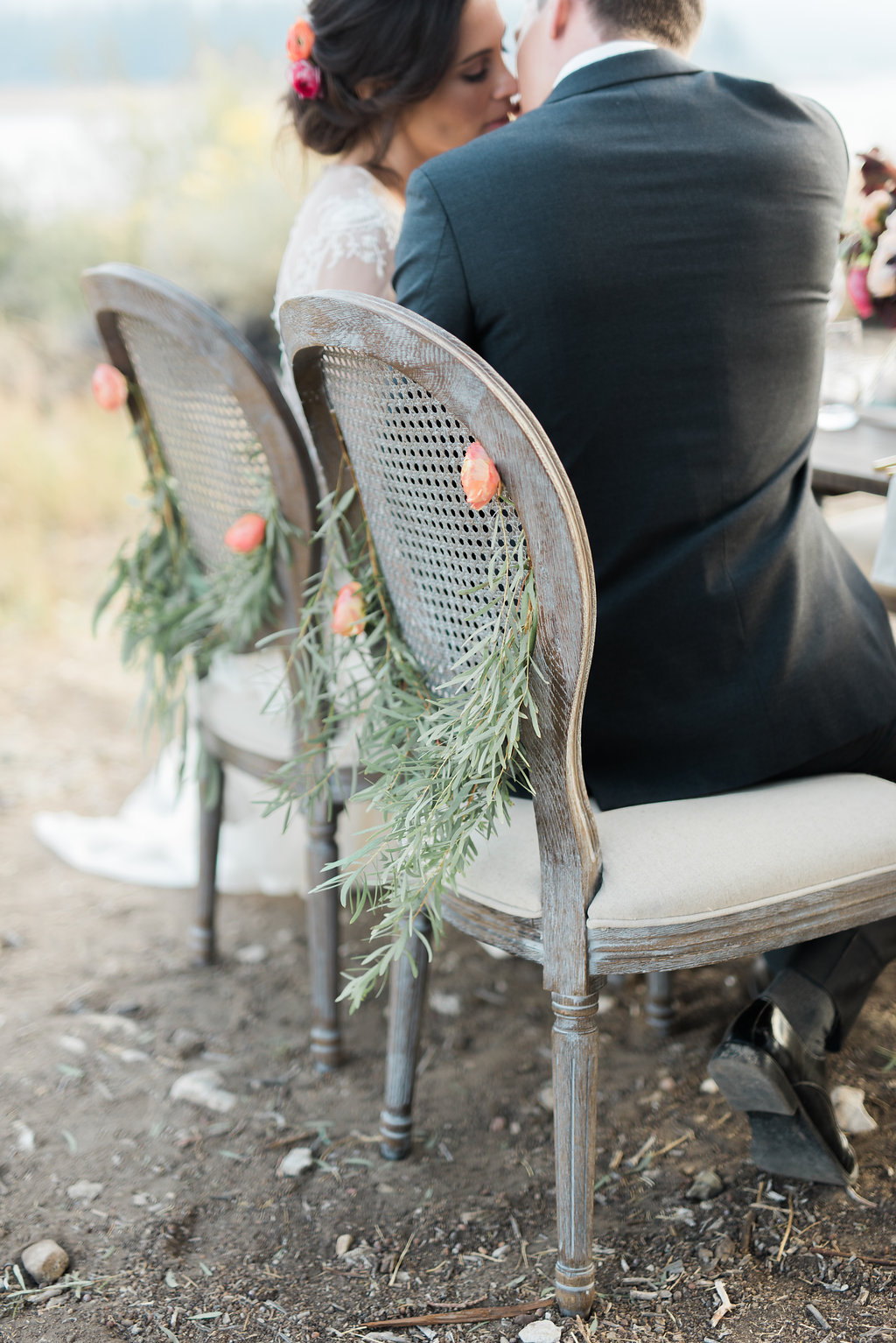 Big Bear Lakeside California Wedding | Shotgunning for Love Letters - Chairs with Garland