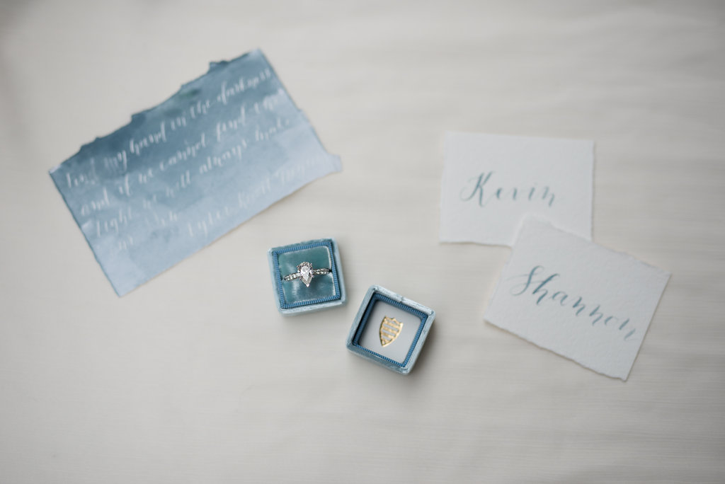 Big Bear Lakeside California Wedding | Shotgunning for Love Letters - Calligraphy Wedding Invitations, Place Cards with Watercolor, Blue Mrs. Box