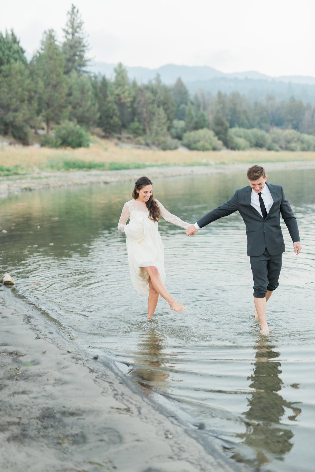 Big Bear Lakeside California Wedding | Shotgunning for Love Letters - Bride and Groom Playful Posing