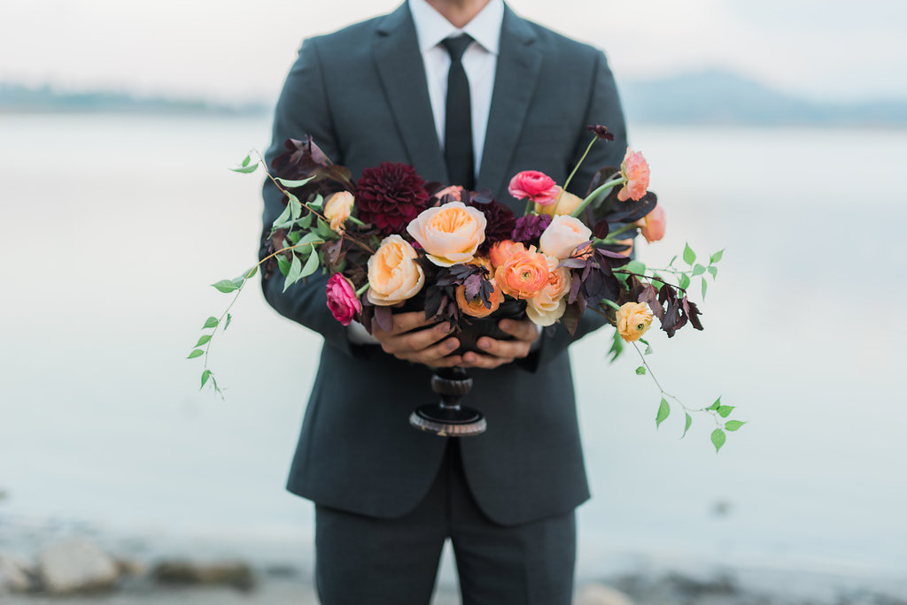 Big Bear Lakeside California Wedding | Shotgunning for Love Letters - Fall/Autumn Floral Centerpiece, Maroons, Burgundy