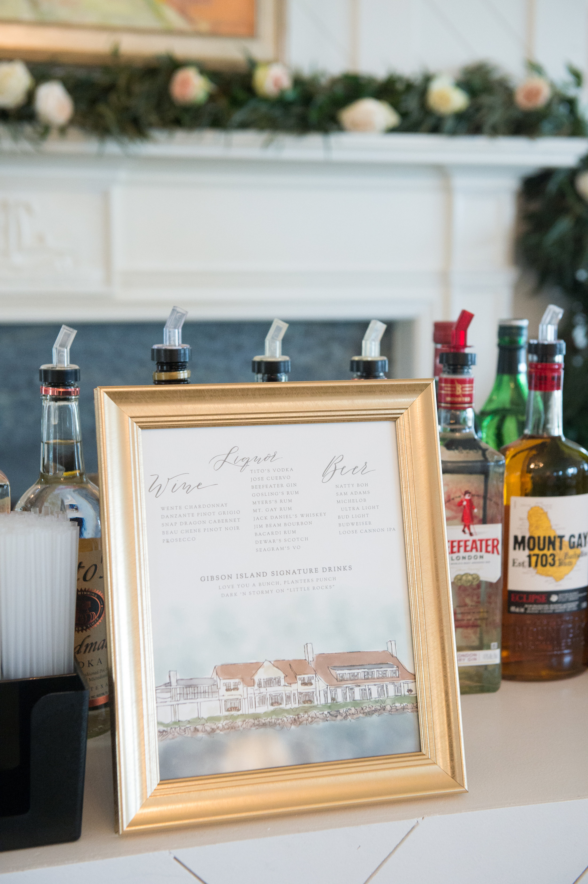 Gibson Island, MD Wedding | Abby Jiu Photography - Calligraphy Bar Sign