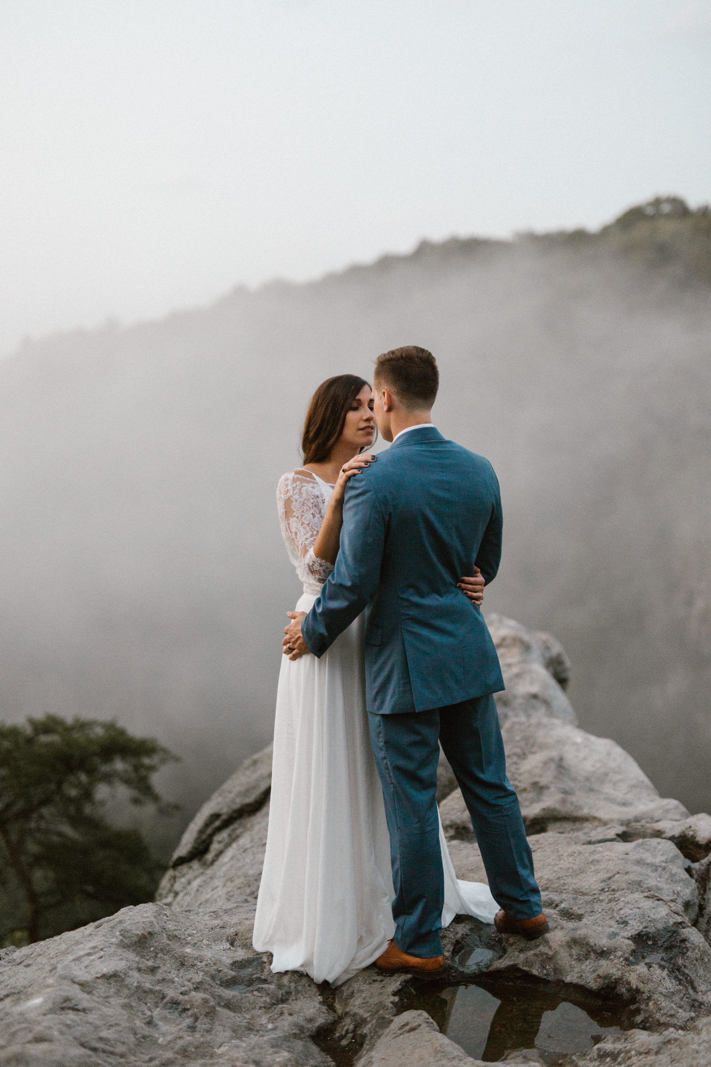 Foggy Mountaintop Elopement Inspiration with Macrame Backdrop Featured on Ruffled Blog