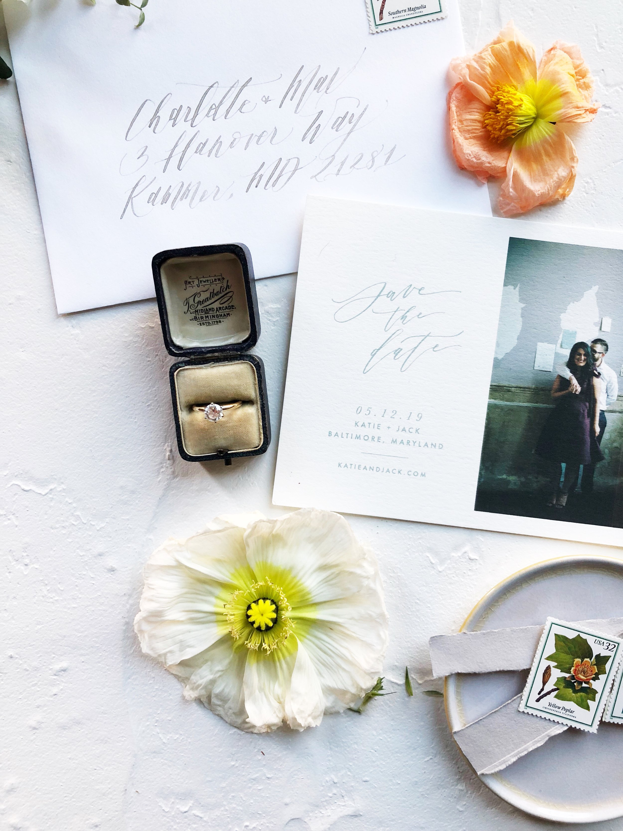 Semi Custom Calligraphy and Type Save the Date Collection   Shotgunning for Love Letters