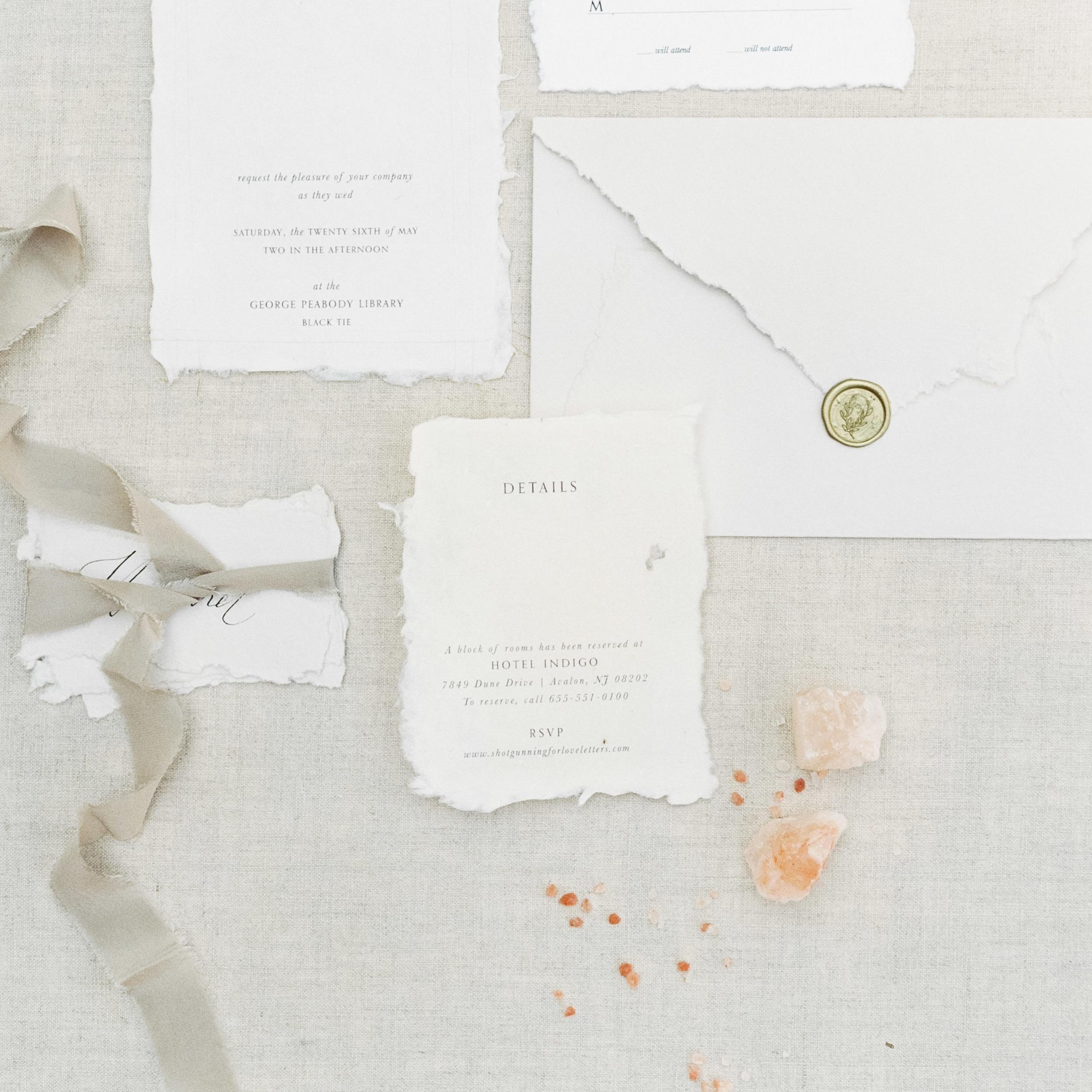 Silk Ribbon - Semi Custom Calligraphy Wedding Invitations | Shotgunning for Love Letters, Baltimore, MD