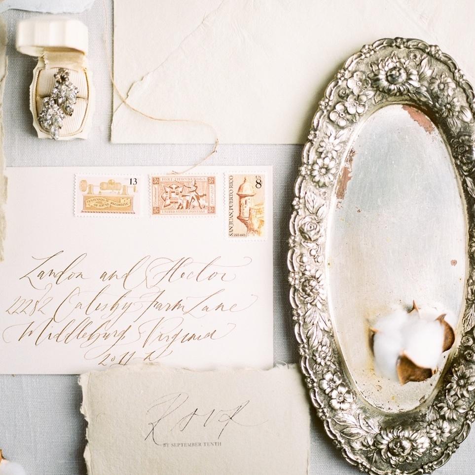 Vintage Stamp Service - Semi Custom Calligraphy Wedding Invitations | Shotgunning for Love Letters, Baltimore, MD