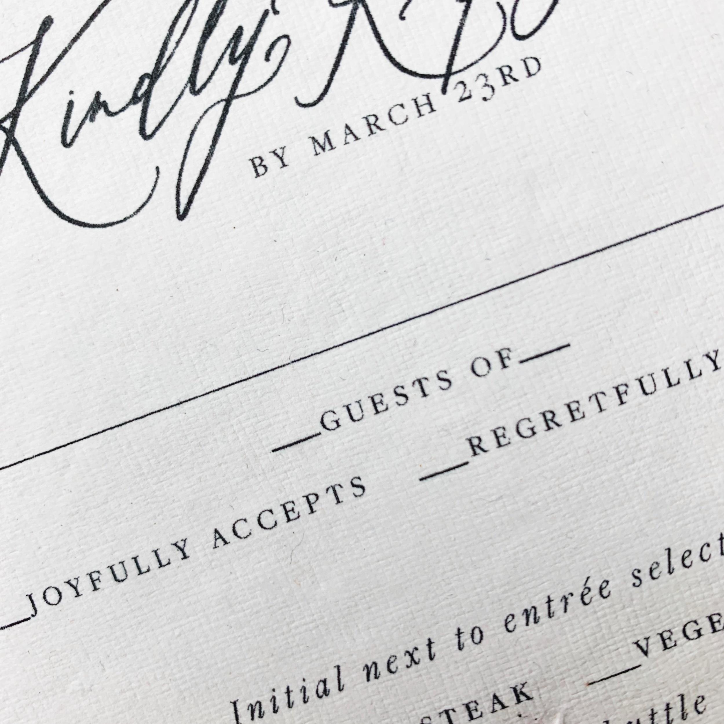 Semi Custom Invitations | Shotgunning for Love Letters Calligraphy