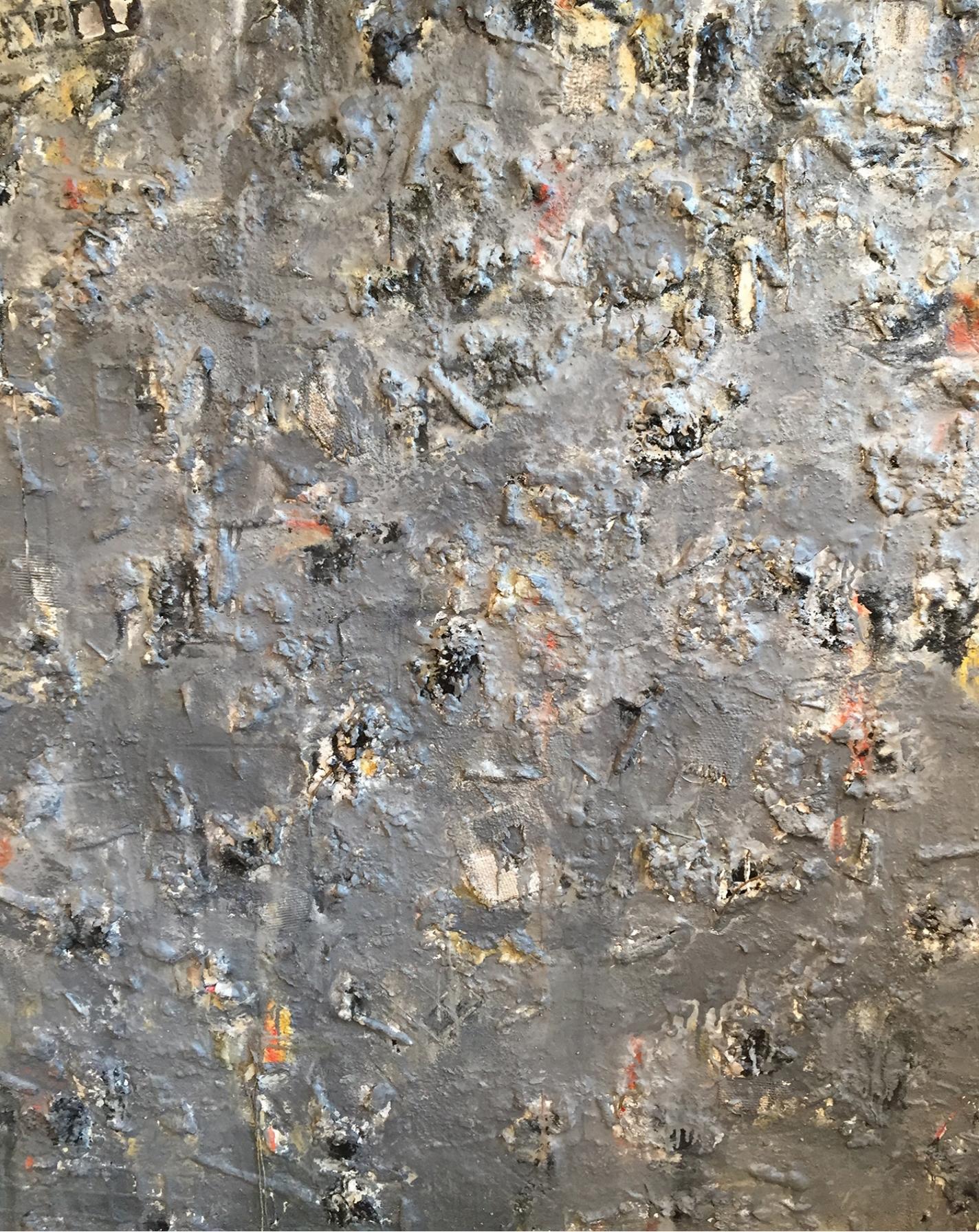 Chipman Cove  Oil, acrylic, wax, sand, seashells, burlap, twine, fiberglass mesh stencil, nails, quartz, cardboard, fiberglass mesh, and sandpaper on panel 48 x 60 in/ 121.9 x 152.4 cm