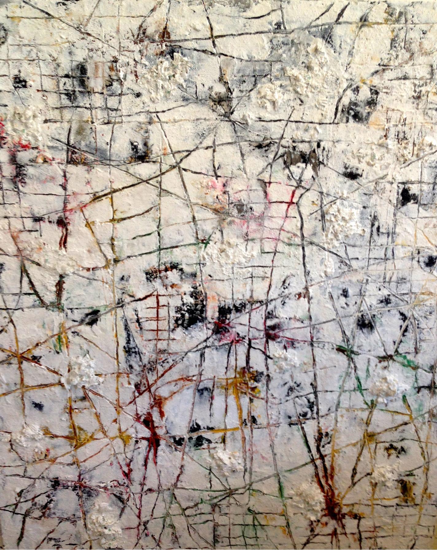 Autumn Rivulets  Oil, wax, sand, glass, seashells, fiberglass mesh stencil and quartz on panel 48 x 60 in/121.9 x 152.4 cm