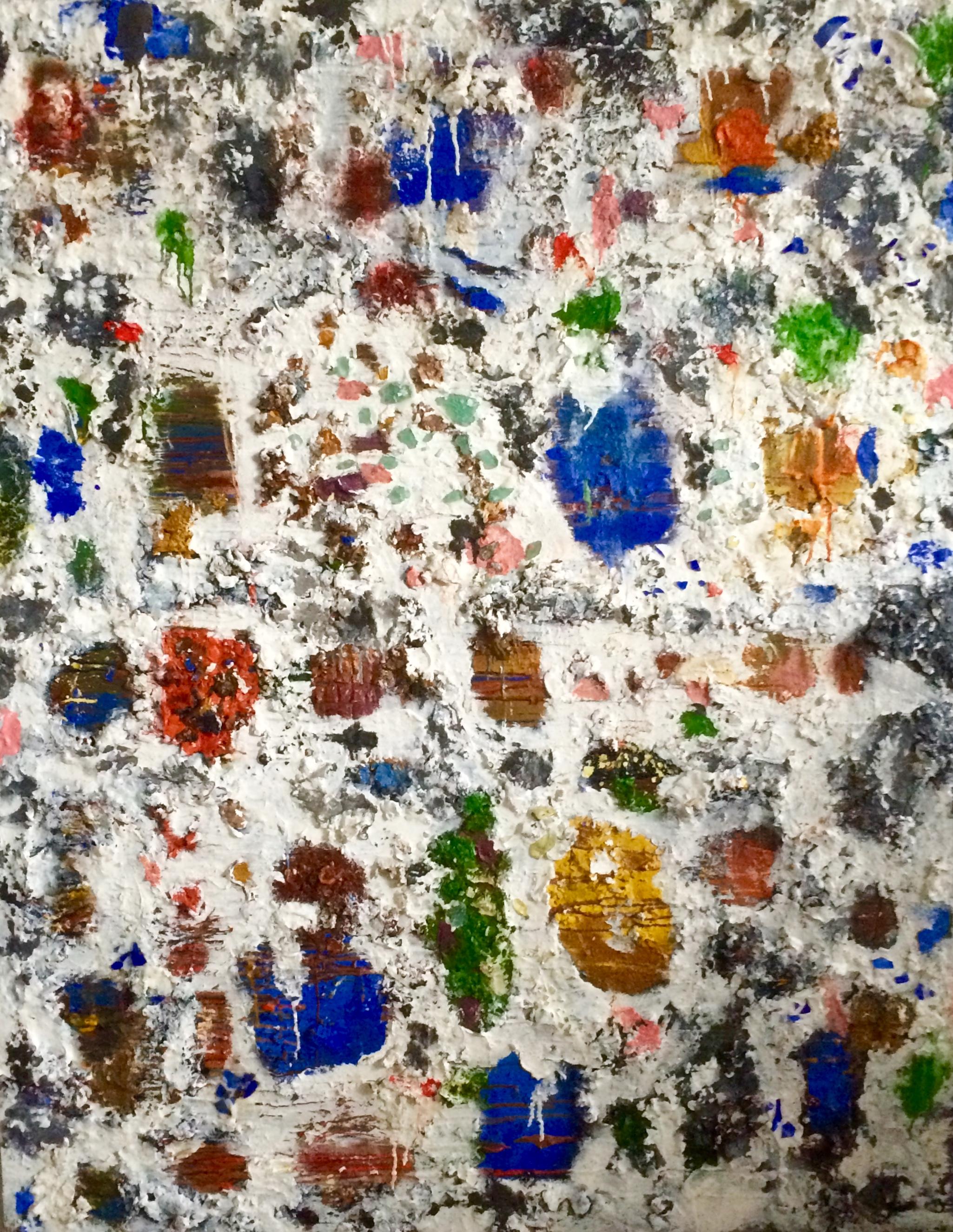 Casablanca Oil, wax, sand, sea shells,glass and fiberglass mesh stencil on panel 48 x 60 in/121.9 x 152.4 cm