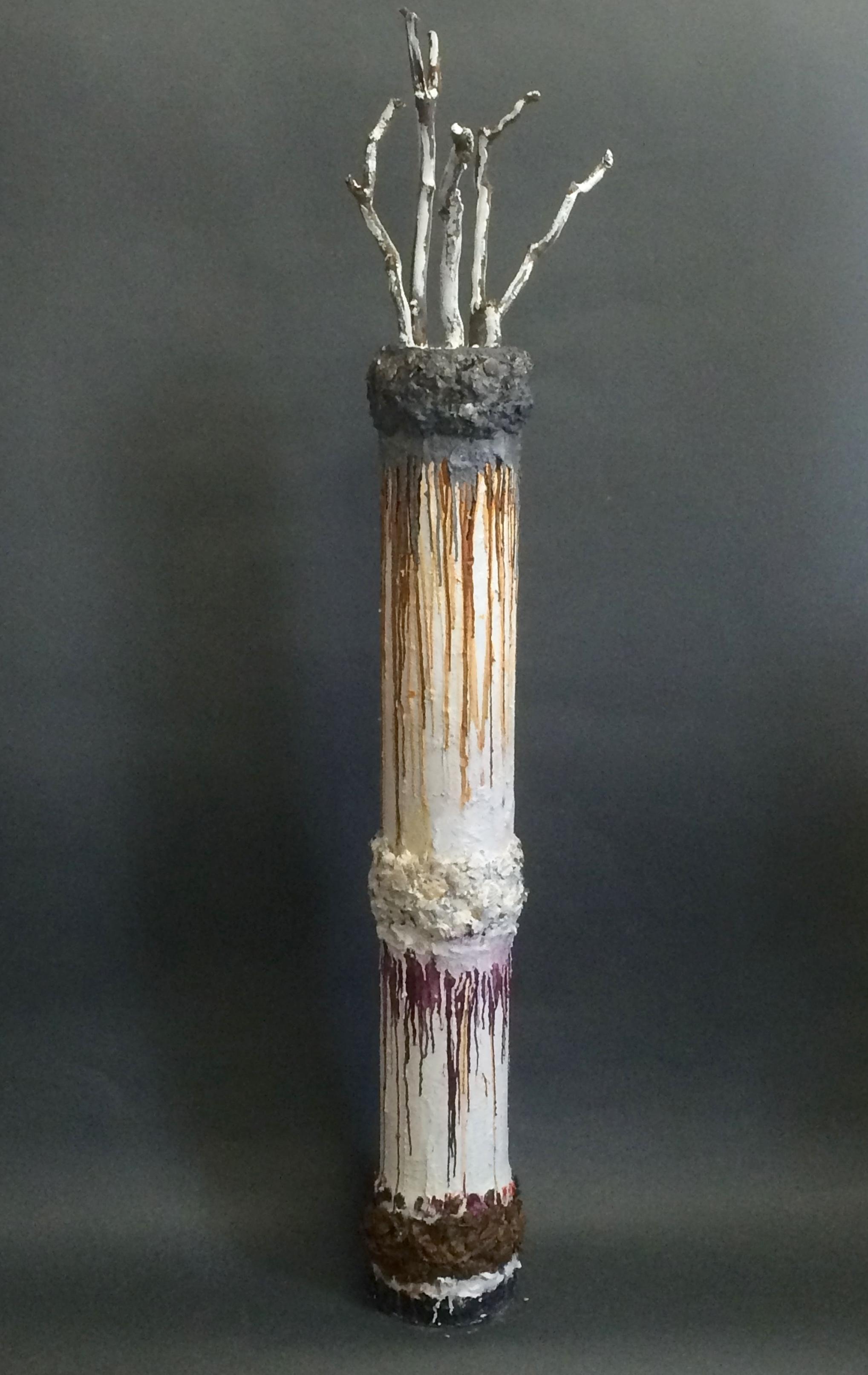Creation  Oil, wax, sand, seashells,glass, quartz, styrofoam, glue, gesso,branches on PVC 63 x 10.25 x 7.5 in / 160 x 26 x 19 cm