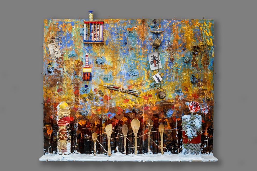 Memories  Mixed media on panel 48 x 60 x 8 in./ 121.9 x 152.4 x 20.3 cm