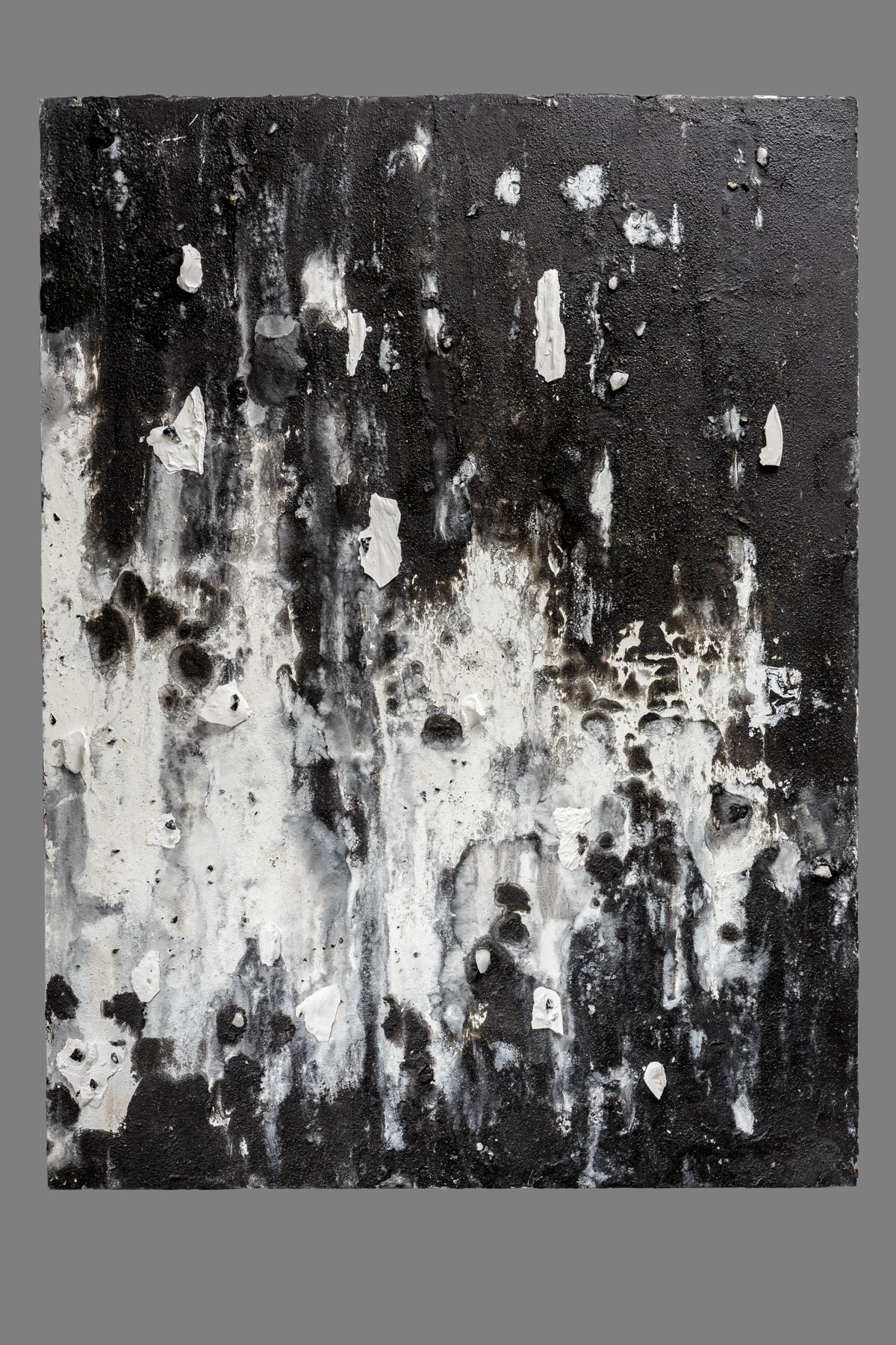 Noir  Oil, sand, wax, hydrocal fragments, quartz, obsidian and citrine 48 x 36 in. / 121.9 x 91.4 cm.