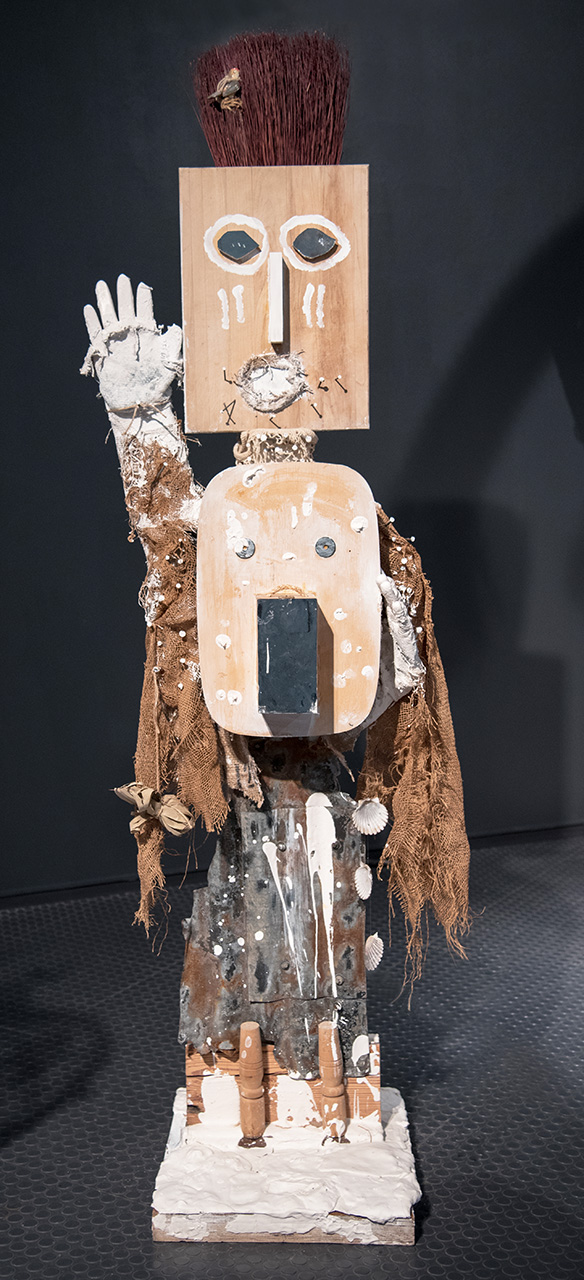 Goddess of Mediation  Found objects, burlap, netting, hydrocal, vinyl glove, glue, nails, screws, twine and plant material. 73 x 50 17.5 in./185.4 x 127 x 43.8cm