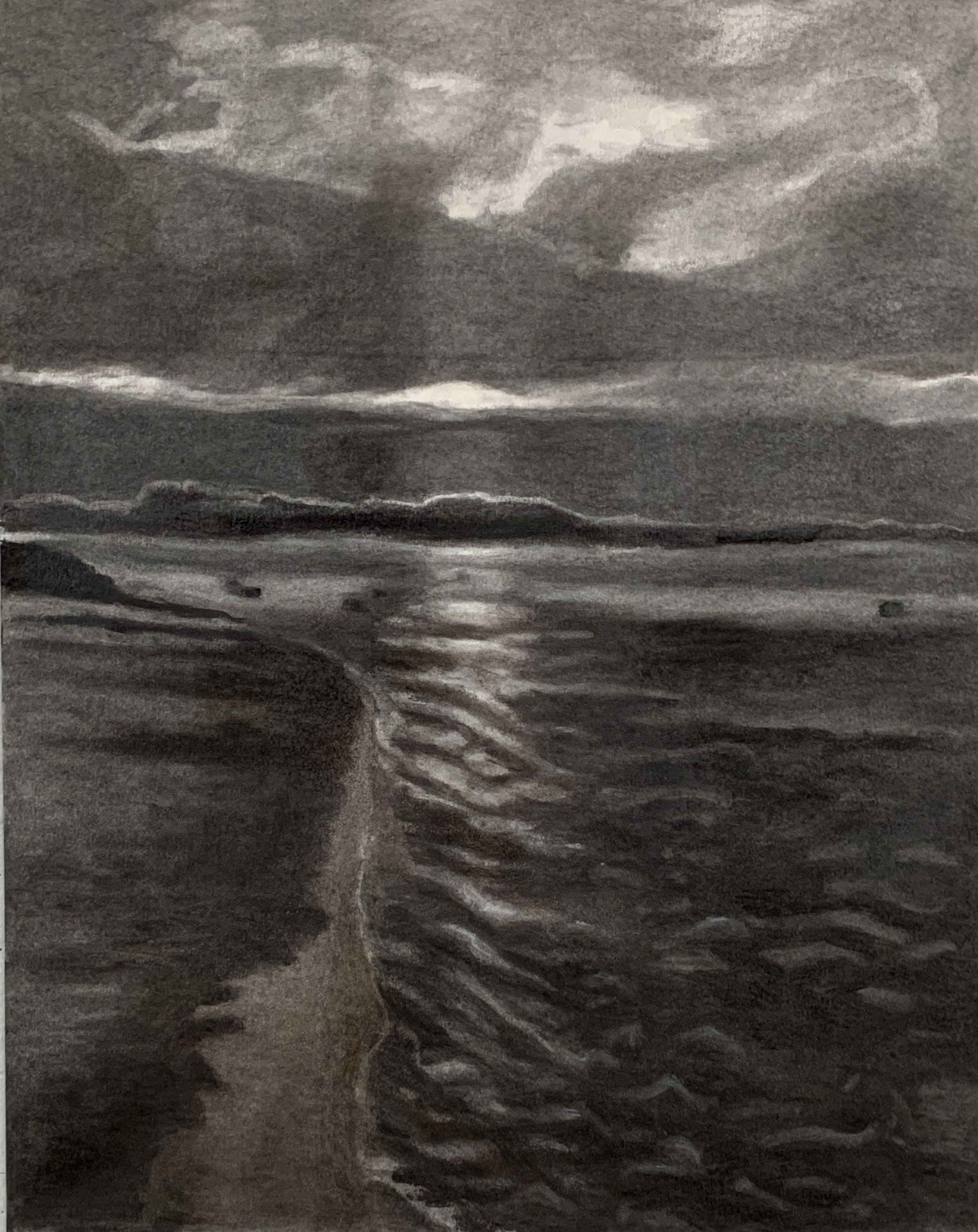 Sunrise at Gloucester Harbor  Charcoal with pastel on vellum mounted on aluminum. 23 x 18 in./ 58.4 x 45.7 cm.
