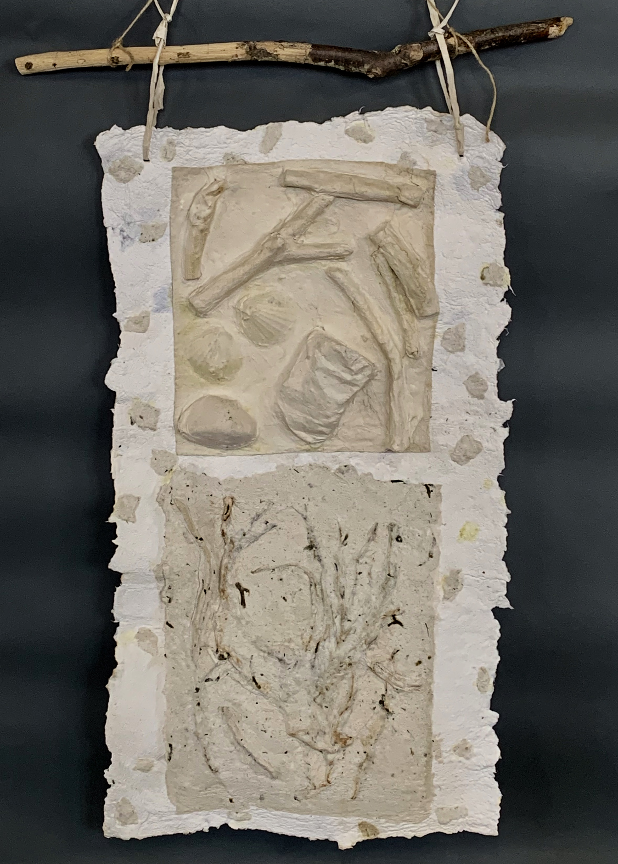 Untitled   .    Relief with branches imbedded in hand made paper from seaweed, cotton, and abaca.