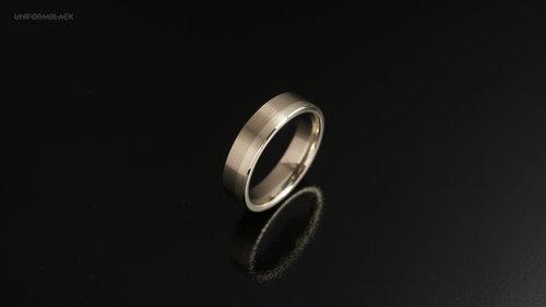 Two tone 18ct & 9ct white gold 5mm band | Uniform Black