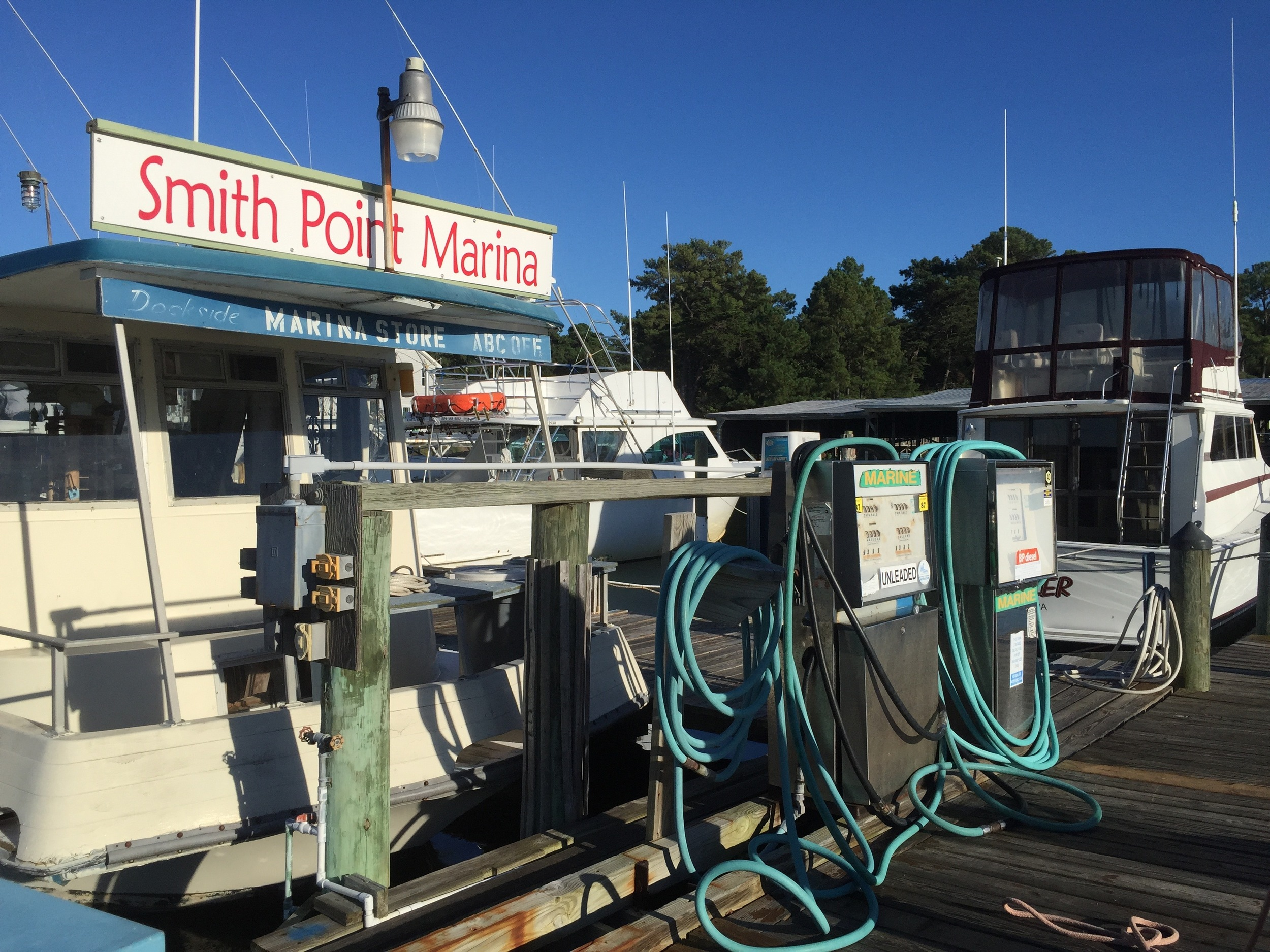 Smith Point Marina marine gas station. Photo by Meg Wallen.