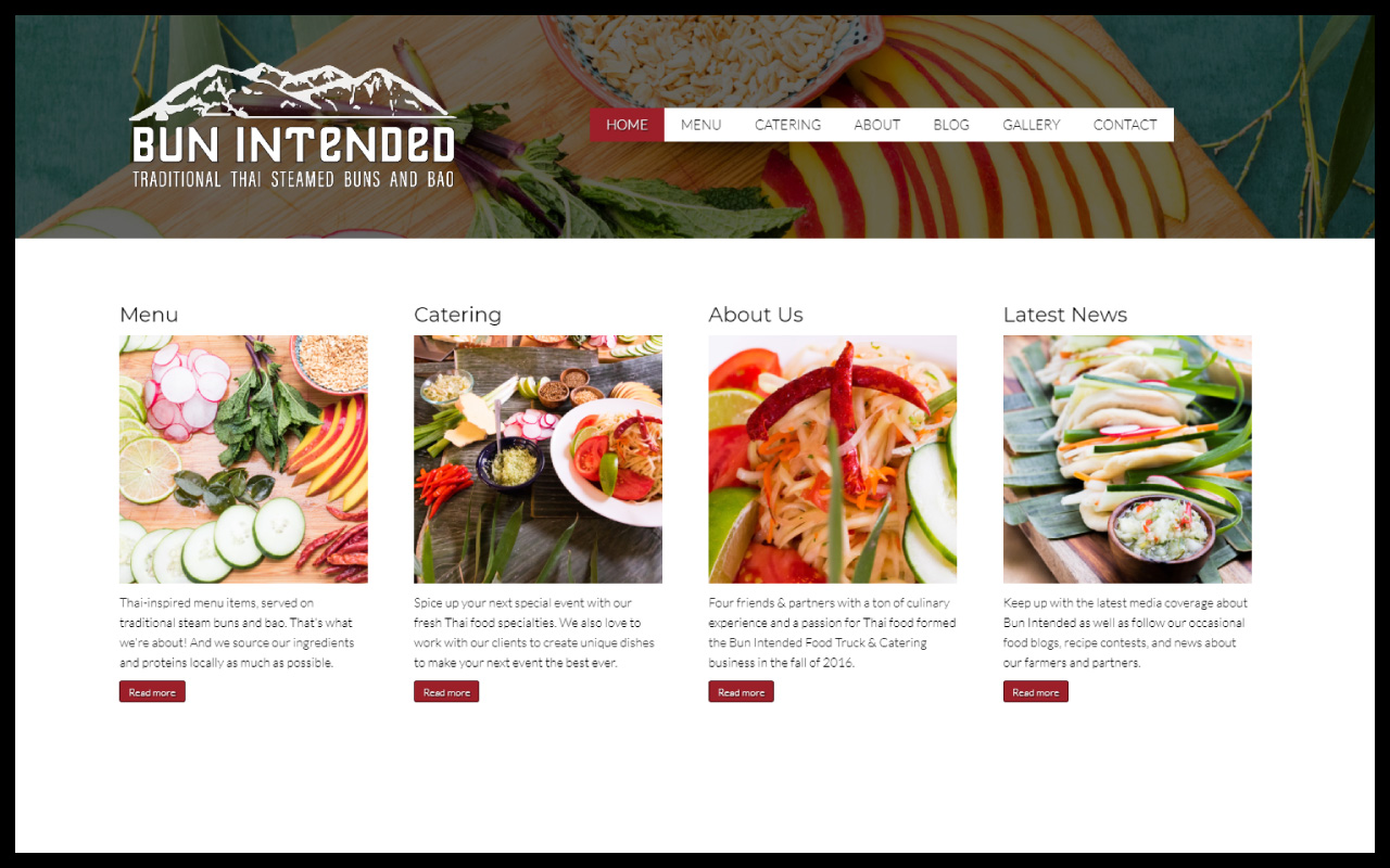 website design + branding @ BUN INTENDED FOOD TRUCK - Four friends & partners with a passion for Thai food formed the Bun Intended Food Truck & Catering business in the fall of 2016. They serve up amazing Thai-inspired menu items, served on traditional steam buns and bao. This hip and friendly food truck wanted a fun brand to share their community-centered take on fresh, local Thai food. Willow-Bee Design got to collaborate with their chefs to design a food truck wrap and website that was as fresh and delicious as their food. Our favorite food truck in Asheville, NC.