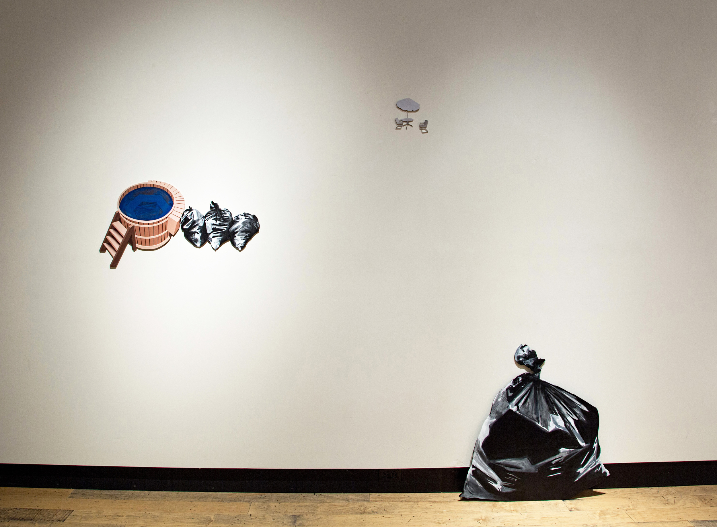 Lori Larusso, Dirt and Glitter, 2012, acrylic on four shaped panels, approx 78 x 62 inches installed