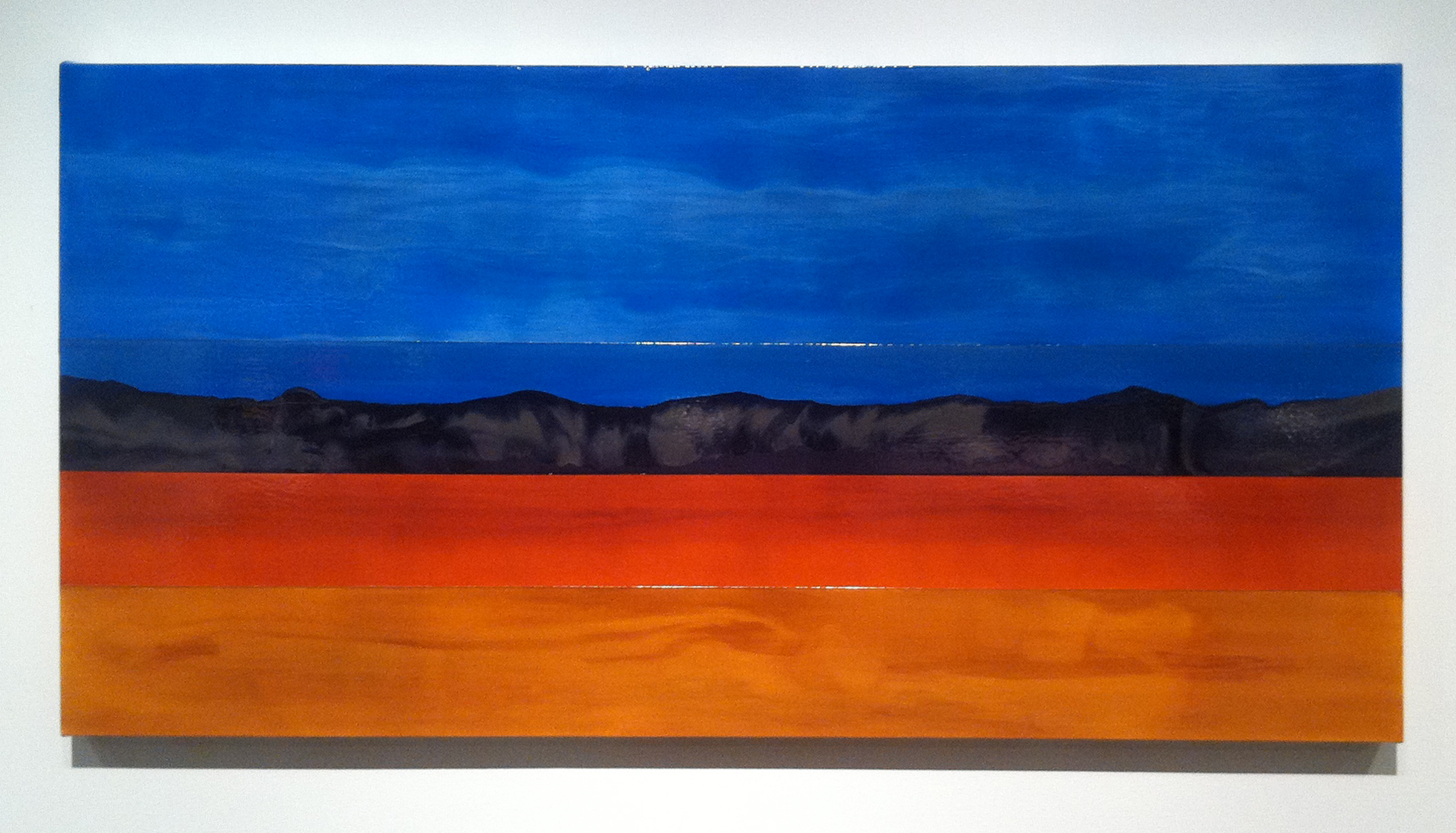 Kate MacKinnon, Eight Days in a Prius, 2013, oil on canvas over panel, 36 x 72 x 3 inches