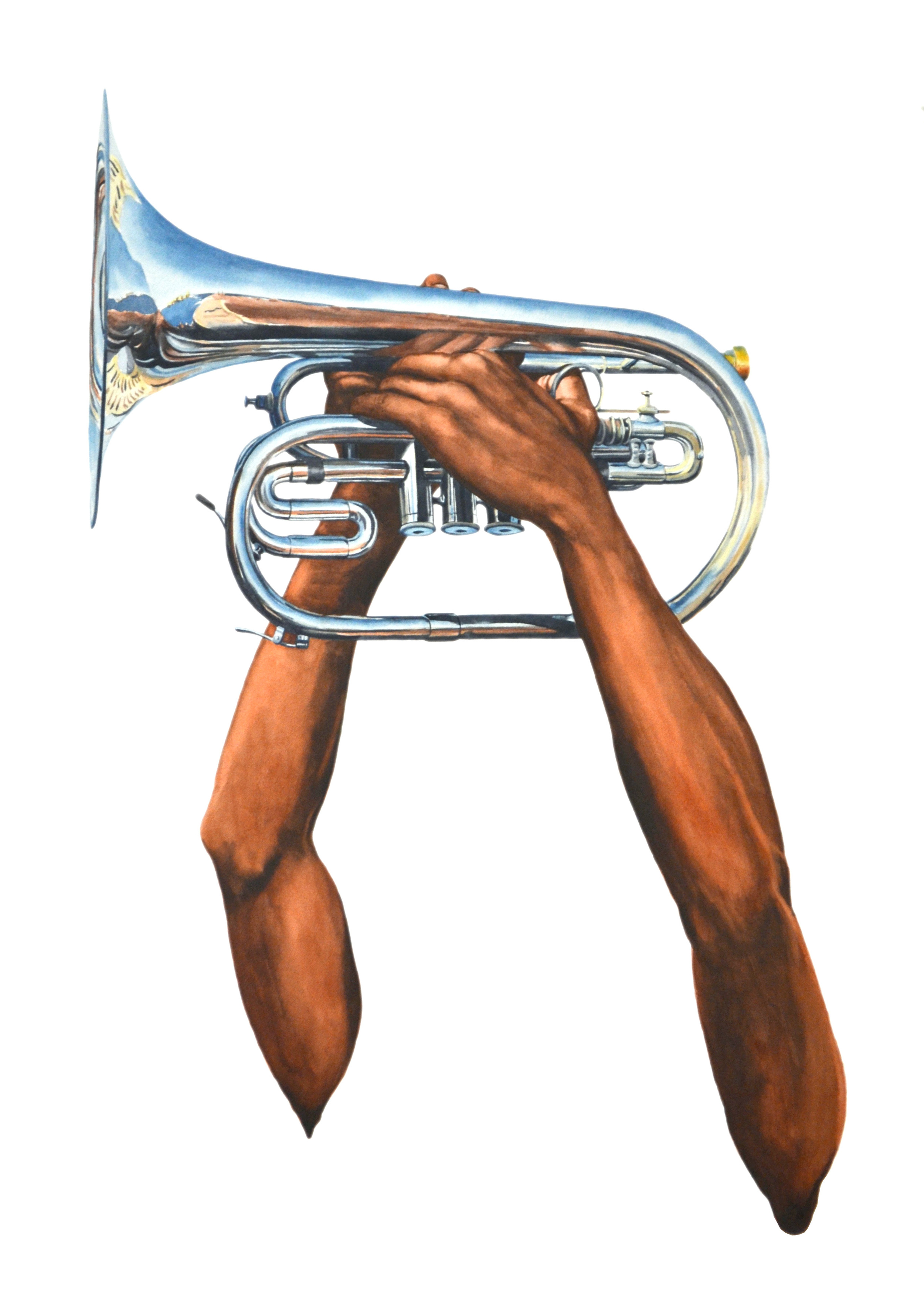 Horn, watercolor on paper