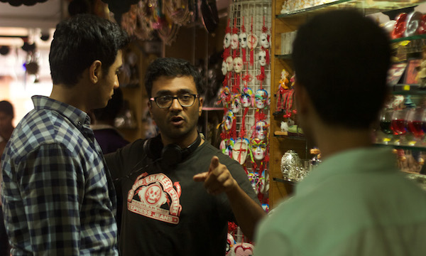 """DIRECTOR SUDHANSHU SARIA GIVES DIRECTION TO HIS ACTORS WHILE SHOOTING A SCENE FROM HIS DEBUT FEATURE """"LOEV."""" (PHOTO: COURTESY THE FILMMAKER)"""