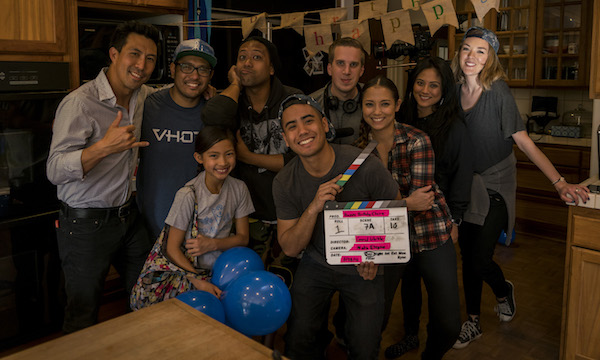 """THE CREW OF DIRECTOR CONRAD LIHILIHI'S """"HAPPY BIRTHDAY, CLAIRE"""" CELEBRATE THE COMPLETION OF PRINCIPAL PHOTOGRAPHY. (PHOTO: COURTESY THE FILMMAKER)"""